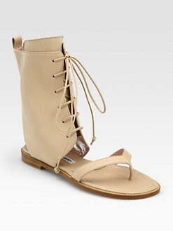 Manolo Blahnik - Vestalpa Lace-Up Sandal Ankle Boots