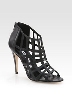 Manolo Blahnik - Poslyna Leather Cage Ankle Boots