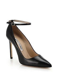 Manolo Blahnik - BB Leather Ankle Strap Pumps