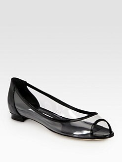 Manolo Blahnik - Ena Translucent Patent Leather-Trimmed Flats