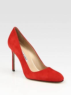 Manolo Blahnik - BB Suede Round Toe Pumps