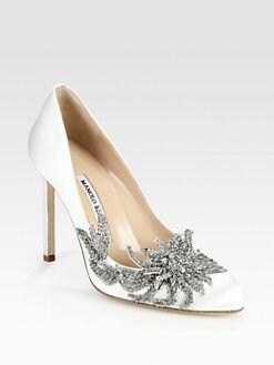 Manolo Blahnik - Embellished Satin Point Toe Pumps