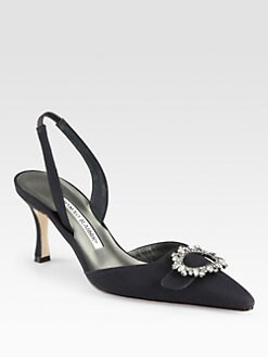 Manolo Blahnik - Colo Jeweled Satin Slingback Pumps