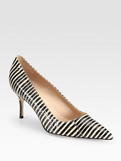 Manolo Blahnik - BB Striped Snakeskin Pumps