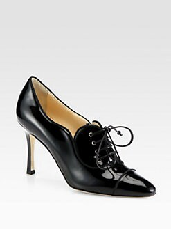 Manolo Blahnik - Timuzin Patent Leather Lace-Up Ankle Boots