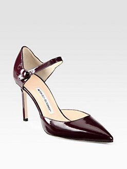 Manolo Blahnik - Norvany Patent Leather Mary Jane Pumps