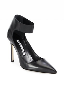 Manolo Blahnik - Ensati Leather Ankle Strap Pumps
