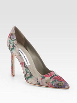 Manolo Blahnik - BB Floral-Print Silk Pumps