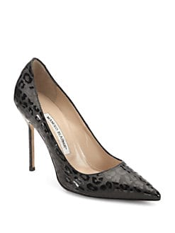 Manolo Blahnik - BB Patent Leather Leopard-Print Pumps