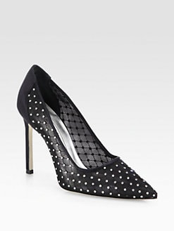 Manolo Blahnik - Tre BB Crystal-Coated Satin & Mesh Pumps