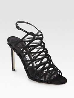 Manolo Blahnik - Coddila Suede Cage Sandals
