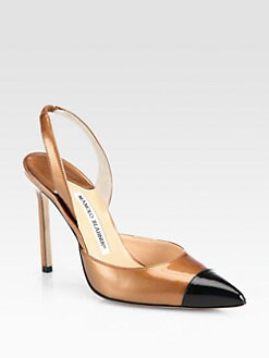 Manolo Blahnik - Carolyne Metallic Leather Slingback Pumps
