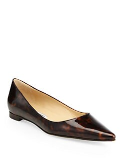 Manolo Blahnik - BB Tortoise-Print Patent Leather Flats