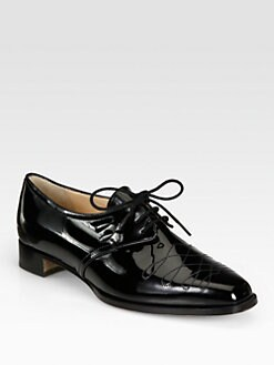 Manolo Blahnik - Maleta Patent Leather Lace-Up Oxfords