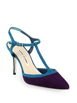 Manolo Blahnik - Wotton Suede T-Strap Slingback Pumps