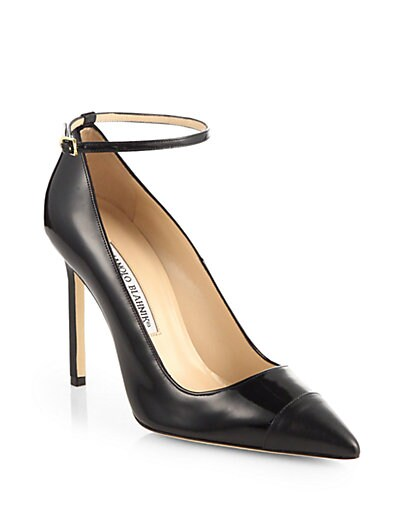 BB Patent Leather Ankle Strap Pumps