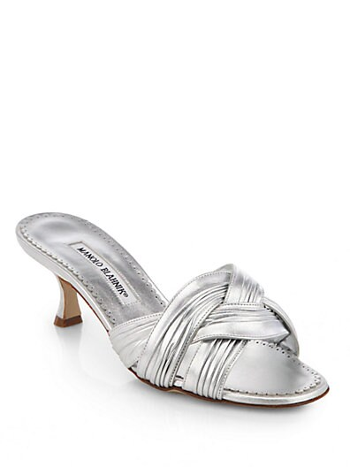 Bendra Twisted Strap Metallic Leather Slides
