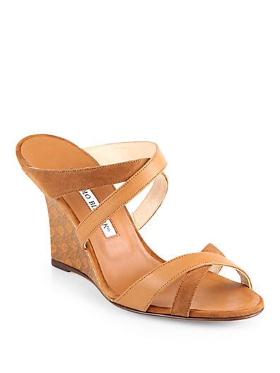 Varchi Strappy Leather  Suede Wedge Sandals