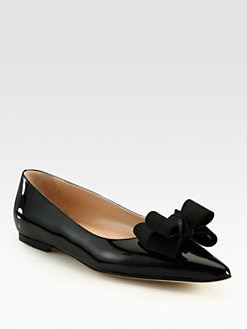 Manolo Blahnik - Patent Leather and Silk-Blend Point Toe Bow Ballet Flats