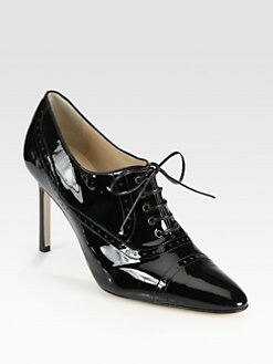 Manolo Blahnik - Patent Leather Lace-Up Oxfords