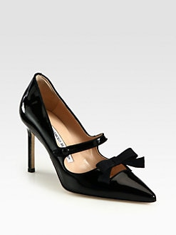 Manolo Blahnik - Patent Leather Mary Jane Bow Pumps