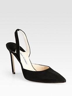Manolo Blahnik - Carolyne Suede Slingback Point Toe Pumps