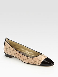 Manolo Blahnik - Quilted Two-Tone Patent Leather-Trim Ballet Flats
