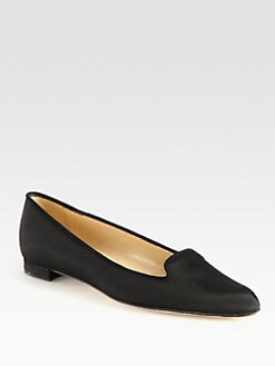 Manolo Blahnik - Grosgrain Ribbon and Suede Smoking Slippers