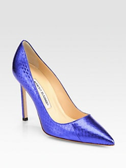 Manolo Blahnik - BB Metallic Snakeskin Pumps