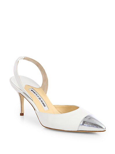 Carolyne Leather  Metallic Cap-Toe Slingback Pumps
