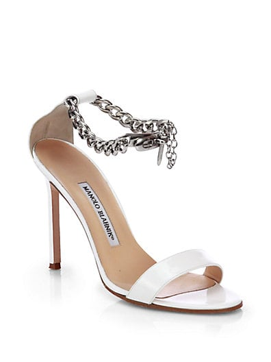 Chaos Patent Leather Ankle-Chain Sandals