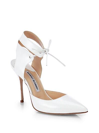Lara Patent Leather Ankle-Tie Pumps