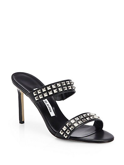 Dioraci Studded Leather Double-Banded Sandals