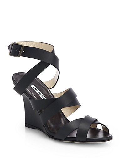 Avola Strappy Leather Wedge Sandals