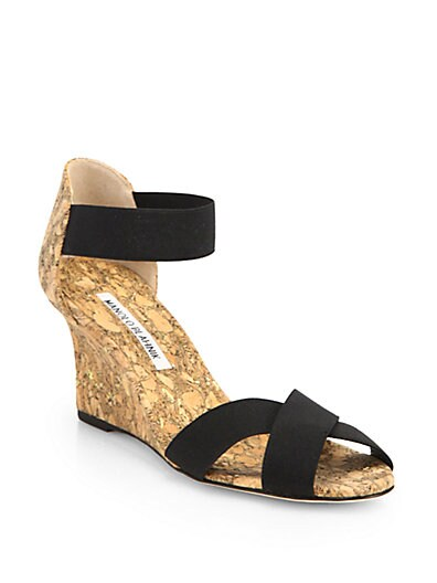 Veggia Elastic  Cork Wedge Sandals