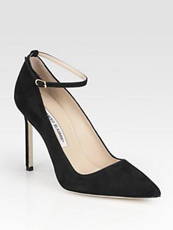 Manolo Blahnik - BB Suede Ankle Strap Pumps