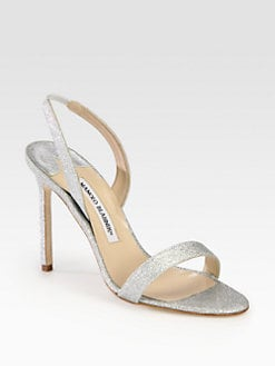 Manolo Blahnik - Glitter-Coated Slingback Sandals