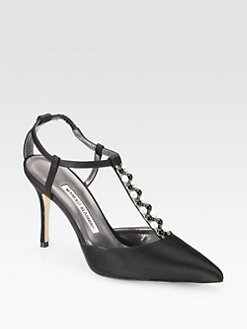 Manolo Blahnik - Tundramod Beaded Satin T-Strap Pumps