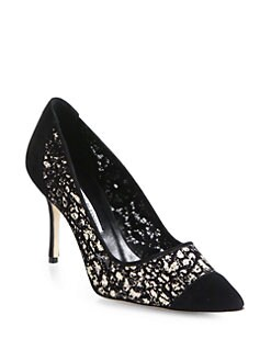 Manolo Blahnik - Solola Embroidered Mesh & Suede Pumps