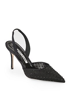 Manolo Blahnik - Guru Crystal-Coated Lace & Satin Slingback Pumps