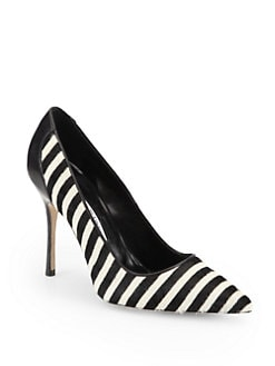 Manolo Blahnik - Niteroi Striped Pony Hair & Leather Pumps