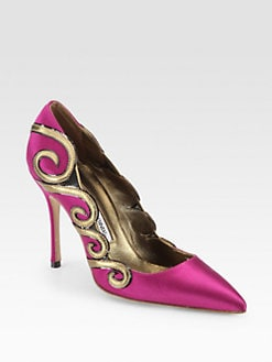 Manolo Blahnik - Mounia Satin & Metallic Leather Swirl Pumps