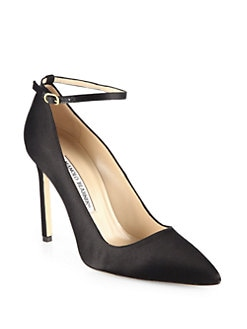 Manolo Blahnik - BB Satin Ankle Strap Pumps