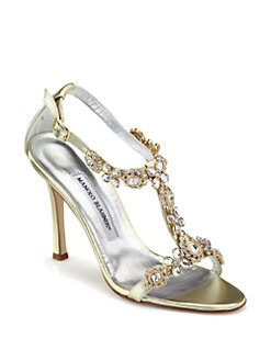 Manolo Blahnik - Ratin Metallic Leather Sandals
