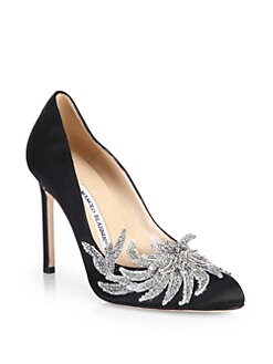Manolo Blahnik - Swan Embellished Satin Pumps
