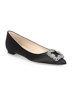 Manolo Blahnik - Hangisi Jewel Satin Flats