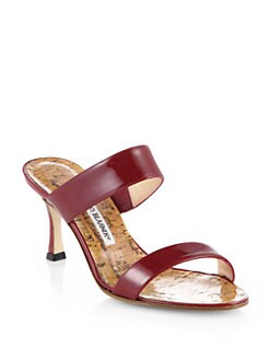 Manolo Blahnik - Angufac Patent Leather Double-Strap Sandals