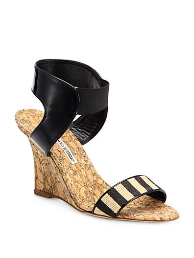 Pepeor Striped Cork Wedge Sandals
