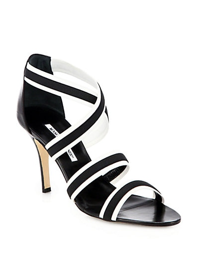 Rigata Black  White Elasticized Sandals