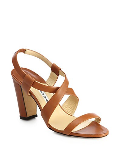 Tiras Leather Block-Heel Sandals